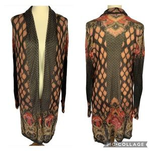 Chico's Floral Soft Lightweight Long Open Cardigan